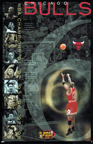 "Michael Jordan ""6"" Chicago Bulls 1998 Championship Shot Poster - Costacos Sports"