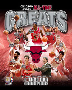 "Chicago Bulls ""All-Time Greats"" (9 Legends, 6 Championships) Premium Poster Print - Photofile"