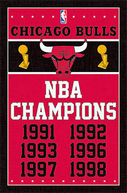 Chicago Bulls 6-Time NBA Champions Commemorative Wall Poster - Trends International