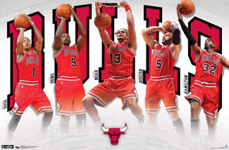 "Chicago Bulls ""Superstars"" Action Poster (Rose, Noah, Deng, Boozer, Rip) - Costacos 2012"