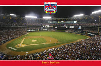 St. Louis Cardinals Old Busch Stadium World Series Game Night Poster (2004) - Costacos