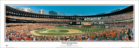 St. Louis Cardinals Busch Stadium Final Opening Game Panoramic Poster Print - Everlasting Images 2005