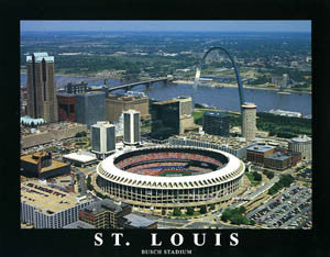 "St. Louis Cardinals Old Busch Stadium ""From Above"" Premium Poster Print - Aerial Views 1995"