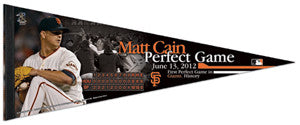 Matt Cain Perfect Game (June 13, 2012) Premium Felt Commemorative Pennant