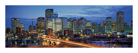 "Calgary, Alberta, Canada ""Winter Sunset"" Panoramic Poster Print - Canadian Art Prints"