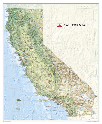 Map of California National Geographic Classic Edition 33x40 Wall Map Poster - NG Maps
