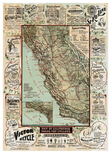 "Map of California 1896 ""Roads for Cyclers"" HUGE Vintage Poster Reprint - McGaw Graphics"
