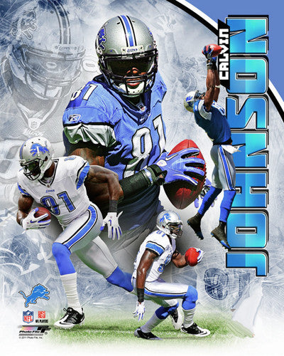 "Calvin Johnson ""Superstar"" Detroit Lions Premium NFL Poster Print - Photofile 16x20"