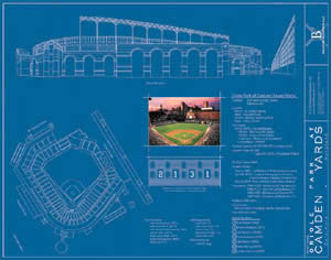 Camden Yards Blueprint Poster Print - Ballpark Blueprints 2004