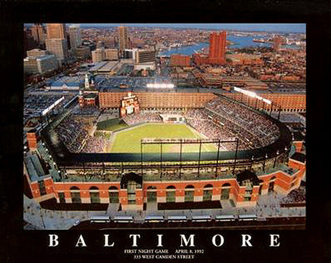 "Oriole Park at Camden Yards ""Twilight"" (1992) Baltimore Orioles Poster Print - Aerial Views"