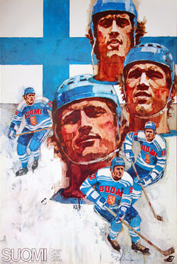 Team Finland Hockey 1976 Vintage Original Poster - Canada Cup Poster Series