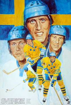 Team Sweden Sverige Canada Cup 1976 Official Team Poster (Salming, Hedberg, ++) - Worldsport Properties Ltd.