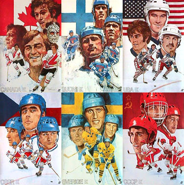 Canada Cup 1976 Hockey Tournament Original 6-Poster Set (Canada, USA, USSR, Czech, Sweden, Finland)