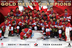 "Team Canada Olympic Hockey 2014 ""Gold Medal Celebration"" Commemorative Poster - Costacos"