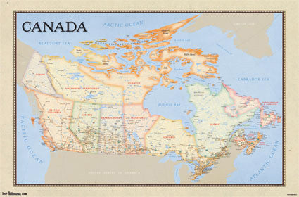 Classic-Style Wall Map of CANADA Poster - Trends International 2013