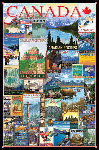 Travel Canada Vintage Posters Collage (31 Reproductions) Poster - Eurographics Inc.