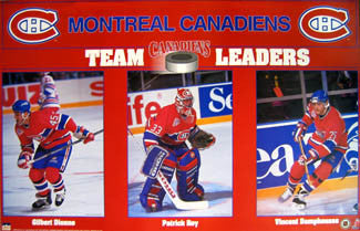 "Montreal Canadiens ""Team Leaders"" (Dionne, Roy, Damphousse) Poster - Starline 1993"