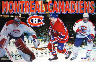 "Montreal Canadiens ""Three Stars"" (Roy, Turgeon, Recchi) Poster - Starline 1995"