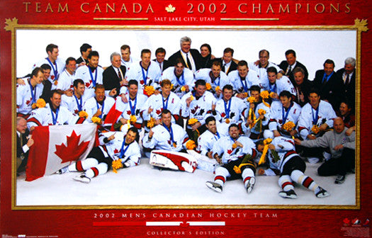 Team Canada 2002 Olympic Hockey Gold Medal Celebration Poster - Costacos Sports
