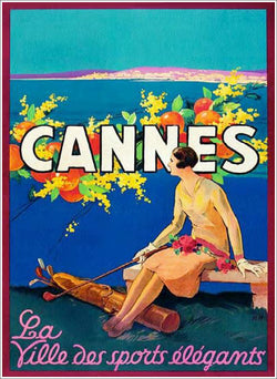 "Cannes, France ""City of Elegant Sports"" (Artist Sem c.1930) Woman Golfer Vintage XL Poster Reproduction"