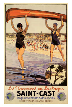 Canoeing In Brittany, France (Saint-Cast, Bretagne) Poster - Editions Clouets Vintage Reprints