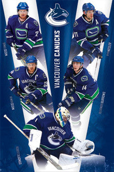 "Vancouver Canucks ""V for Victory"" Poster (Sedins, Luongo, Burrows, Kessler) - Costacos 2011"