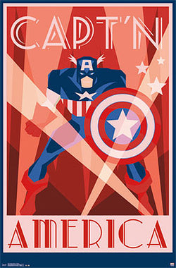"Captain America by Marvel Comics ""Art Deco"" Decorative Collectible Wall Poster - Trends"