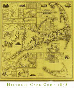 Historic Cape Cod Wall Map (1858) Poster Reproduction - Image Source International