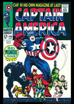 Captain America #100 (Apr. 1968) Vintage Marvel Cover Poster Reprint
