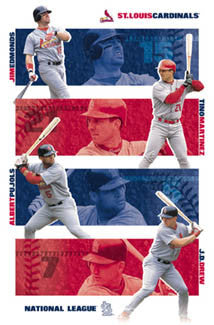 "St. Louis Cardinals ""White Border"" Poster (Edmonds, Pujols, Martinez, Drew) - Costacos 2002"