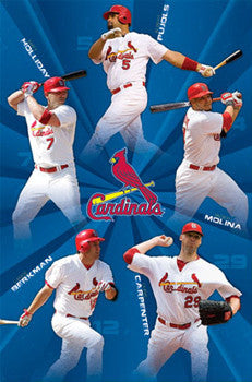 "St. Louis Cardinals ""Fab Five"" (2011) Poster - Costacos Sports"