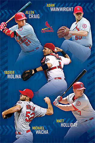 "St. Louis Cardinals ""Five Stars"" (2014) MLB Superstars Action Poster - Costacos Sports"