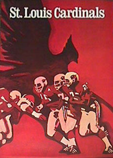 St. Louis Cardinals NFL Collectors Series Vintage Original Theme Art Poster (1968)