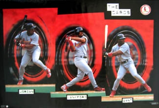 "St. Louis Cardinals ""The Cards"" Poster (Gant, Lankford, Jordan) - Costacos 1997"