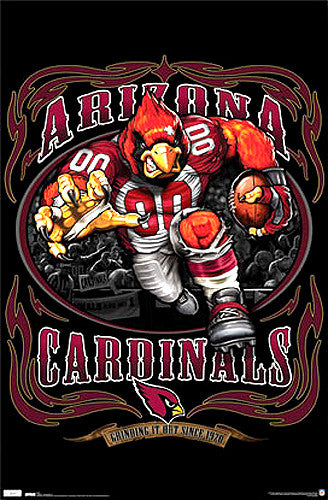 "Arizona Cardinals ""Grinding it Out"" NFL Theme Art Poster - Costacos Sports"