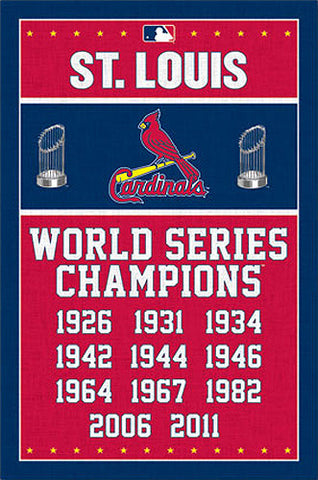 St. Louis Cardinals 11-Time World Series Champions Commemorative Wall Poster - Costacos