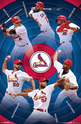 St. Louis Cardinals Superstars 2017 POSTER (Carpenter, Molina, Grichuk, Martinez, Wacha, Wainwright)