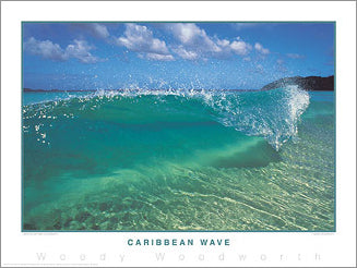 "Surfing ""Caribbean Wave"" Ocean Wave Classic Poster Print - Creation Captured"
