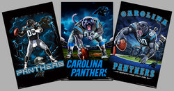 COMBO: Carolina Panthers Football Liquid Blue Theme Art 3-Poster Combo - Trends International