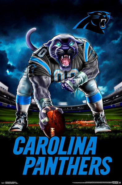 "Carolina Panthers ""Hardcore Football"" NFL Theme Art Poster - Liquid Blue/Trends Int'l."