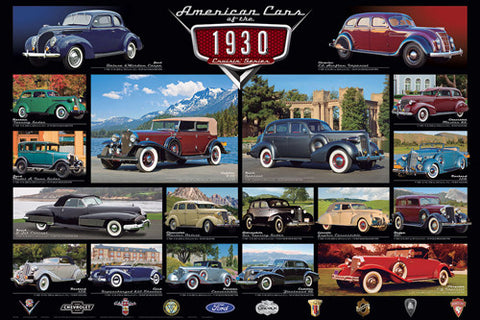 American Cars of the 1930s (18 Classic Automobiles) Cruisin' Series Poster - Eurographics Inc.