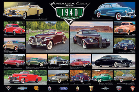 American Cars of the 1940s (18 Classic Automobiles) Cruisin' Series Poster - Eurographics Inc.
