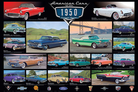 American Cars of the 1950s (18 Classic Automobiles) Cruisin' Series Poster - Eurographics Inc.
