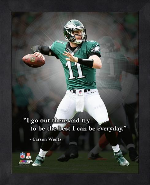 "Carson Wentz ""Everyday Best"" Philadelphia Eagles FRAMED 16x20 PRO QUOTES PRINT - Photofile"