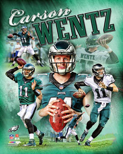 "Carson Wentz ""Power Profile"" Philadelphia Eagles Premium NFL Poster Print - Photofile 16x20"