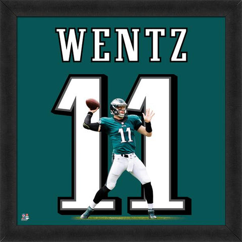 "Carson Wentz ""Number 11"" Philadelphia Eagles NFL FRAMED 20x20 UNIFRAME PRINT - Photofile"