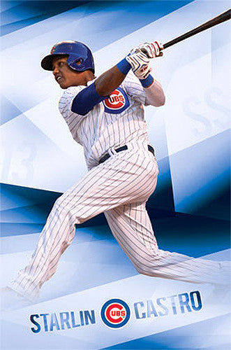 "Starlin Castro ""Sensation"" Chicago Cubs MLB Action Wall Poster - Costacos 2014"