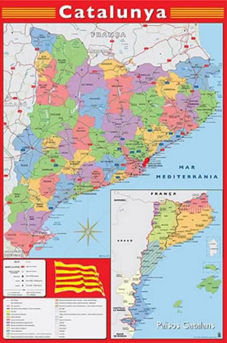 Map of Catalonia (Catalunya) Wall Chart Poster (Regions, Capitals, Cities, Roads, Rivers, etc.) - Grupo Erik