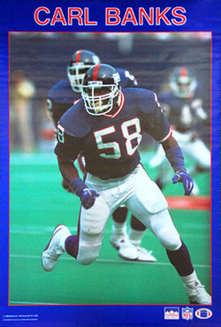 "Carl Banks ""Prowler"" New York Giants Vintage Original NFL Poster - Starline 1988"