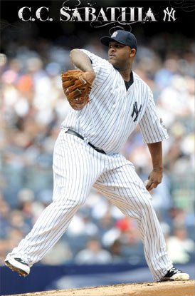 "CC Sabathia ""Ace"" New York Yankees MLB Action Poster- Costacos Sports"